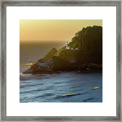 Heceta Head Lighthouse At Sunset Framed Print
