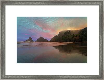 Heceta Head Lighthouse Foggy Sunset Framed Print by David Gn