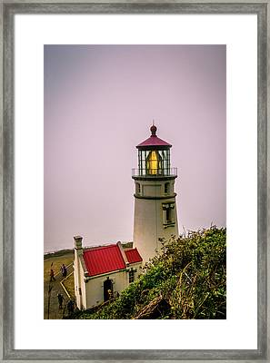 Heceta Head Lighthouse In The Fog Framed Print