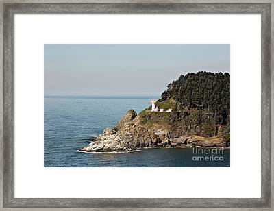 Heceta Head Lighthouse With Bright Light Framed Print