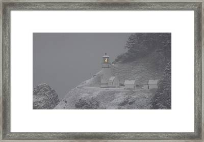 Heceta Lighthouse Snowstorm Framed Print