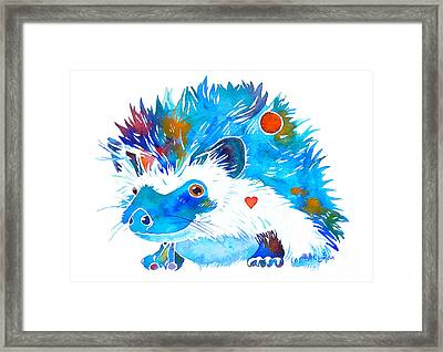 Hedgehog With Heart Framed Print by Jo Lynch