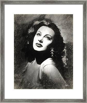 Hedy Lamarr Draw Framed Print by Quim Abella