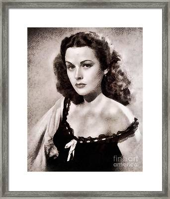 Hedy Lamarr, Vintage Actress By John Springfield Framed Print by John Springfield