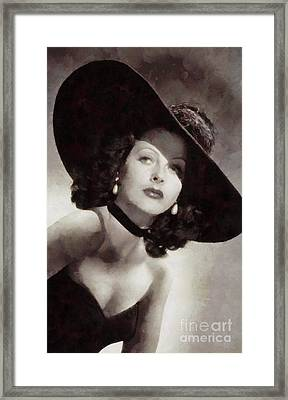 Hedy Lamarr, Vintage Actress Framed Print by Sarah Kirk