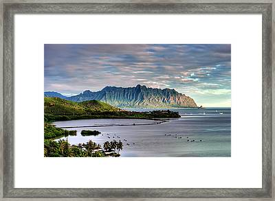 He'eia Fish Pond And Kualoa Framed Print by Dan McManus