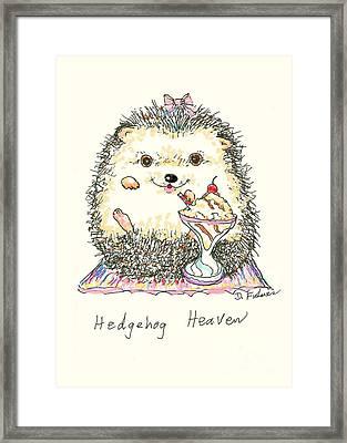 Hedgehog Heaven Framed Print by Denise Fulmer