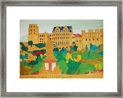 Heidelberg Castle And Minerva Framed Print by Michaela Bautz