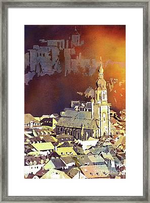 Framed Print featuring the painting Heidelberg Sunset- Germany by Ryan Fox