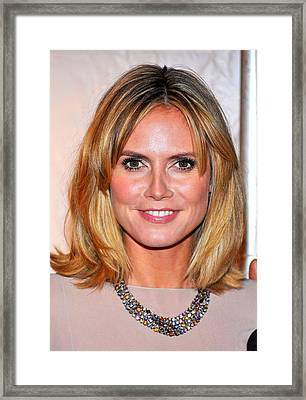 Heidi Klum At Arrivals For Reaching Out Framed Print