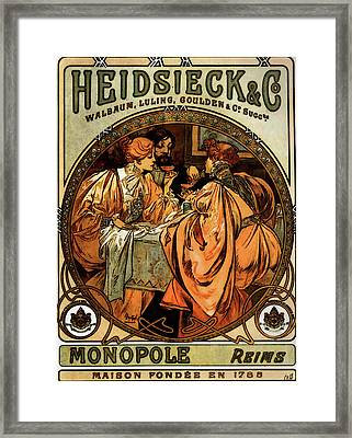 Heidsieck And Co   Framed Print by Alphonse Maria Mucha