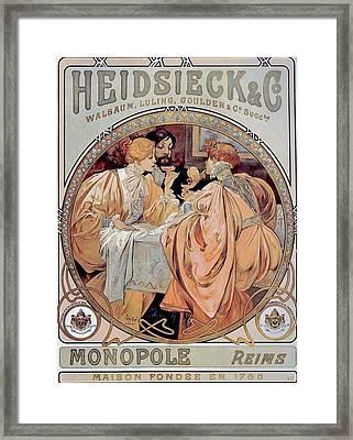 Heidsieck  Co Framed Print by Alphonse Mucha