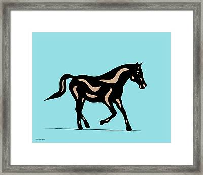Heinrich - Pop Art Horse - Black, Hazelnut, Island Paradise Blue Framed Print by Manuel Sueess