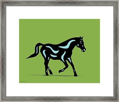Heinrich - Pop Art Horse - Black, Island Paradise Blue, Greenery Framed Print
