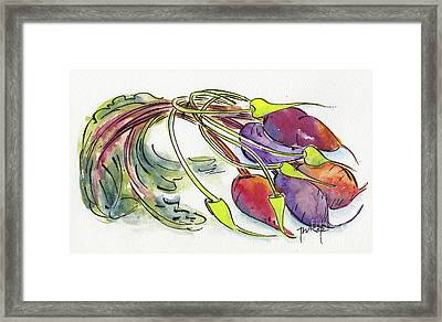 Framed Print featuring the painting Heirloom Beets And Garlic Scapes by Pat Katz