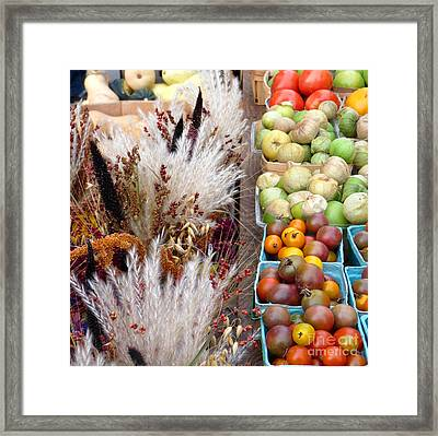 Heirloom Tomatoes And Fall Grass Framed Print