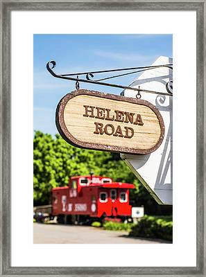 Helena Road Sign Framed Print