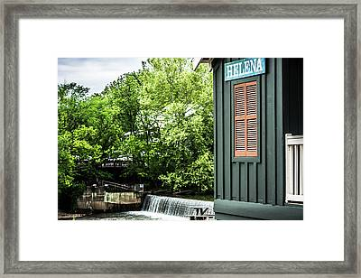 Framed Print featuring the photograph Helena Sign By Buck Creek by Parker Cunningham