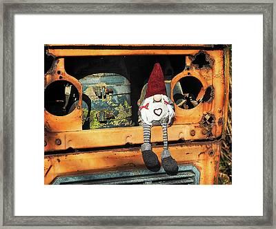 Helga On The Tractor Framed Print by Susie Peek