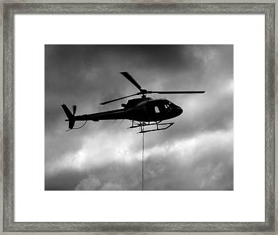 Helicopter In Sling Operations Framed Print by Wyatt Rivard