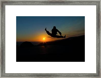 Helicopter Kick Framed Print by Henry Binerfa