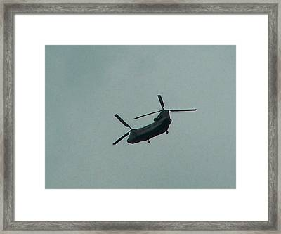 Helicopter Leaving Airport Framed Print by Lila Mattison
