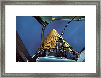 Helicopter On Skyscaper Facade Framed Print