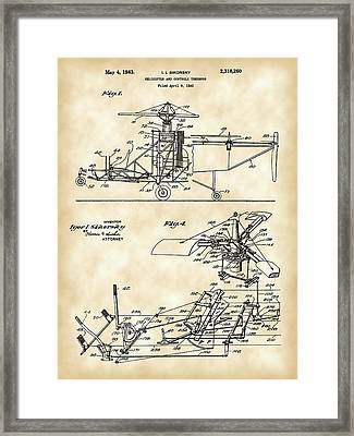 Helicopter Patent 1940 - Vintage Framed Print by Stephen Younts