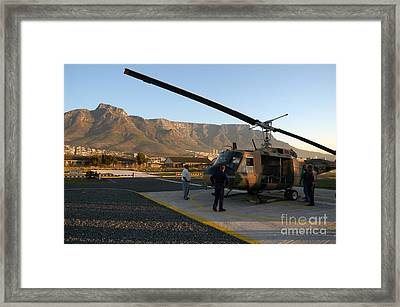 Helicopter Tours Of Cape Town And Table Mountain Framed Print by Andy Smy