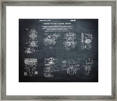 Helicoptor Patent 1932 Chalk Framed Print by Bill Cannon