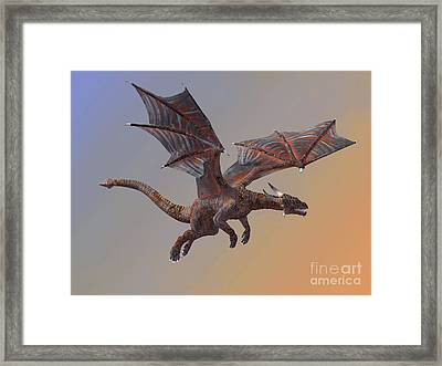 Hell Dragon Flying Framed Print by Corey Ford