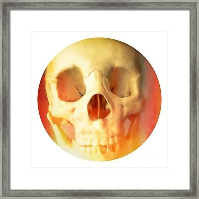 Hell Fire Skull Round Beach Towel Blanket Framed Print by Edward Fielding