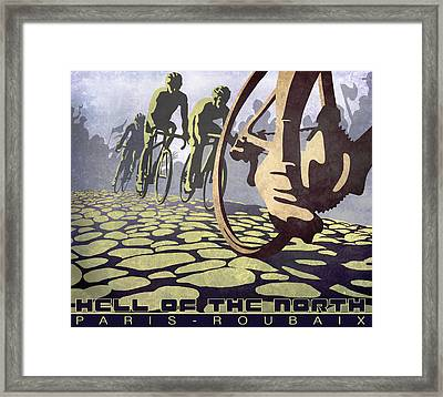 Hell Of The North Retro Cycling Illustration Poster Framed Print by Sassan Filsoof