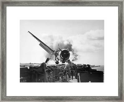 Hellcat Aircraft Slams Into U S S Enterprise Carrier  1943 Framed Print by Daniel Hagerman