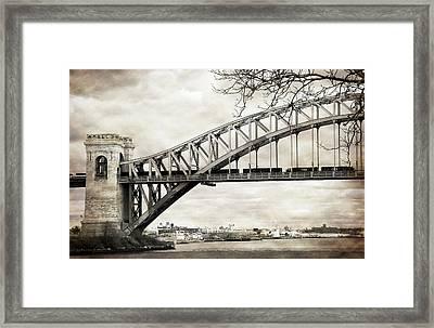 Hellgate Bridge In Sepia Framed Print