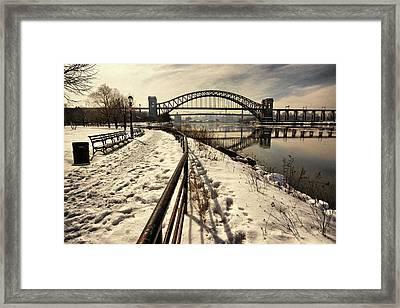 Hellgate Bridge In Winter Framed Print