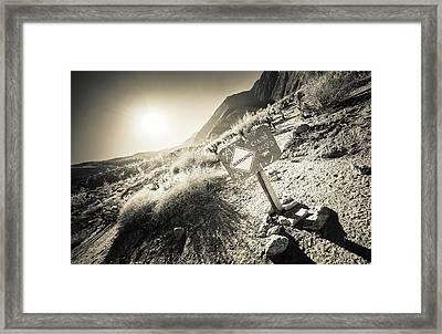 Hellhole Canyon Warning Framed Print