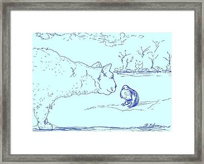 Framed Print featuring the drawing Hello Birdie by Denise Fulmer