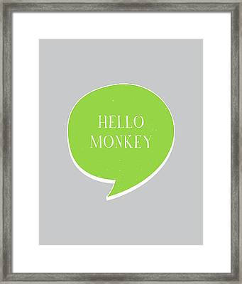 Hello Monkey Framed Print by Samuel Whitton