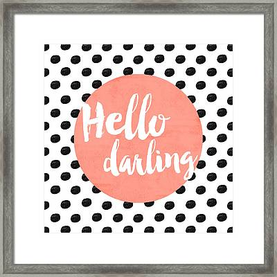 Hello Darling Coral And Dots Framed Print
