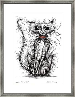 Hello Fuzzy Cat Framed Print by Keith Mills