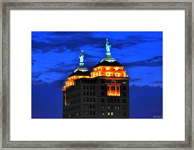 Hello Goodbye In Stormy Skies Atop The Liberty Building Framed Print by Michael Frank Jr