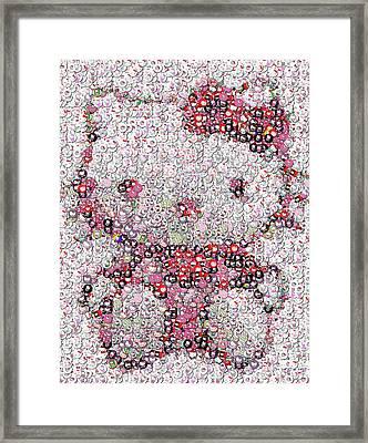 Hello Kitty Button Mosaic Framed Print