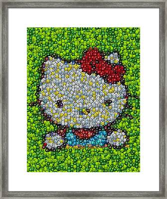 Hello Kitty Mm Candy Mosaic Framed Print by Paul Van Scott