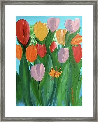 Hello Spring Tulips Framed Print