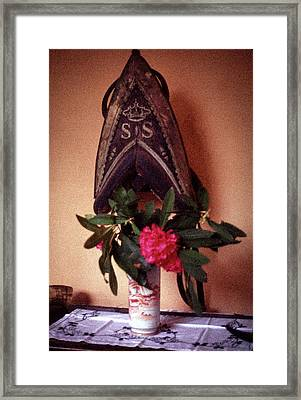 Helmet And Flower Framed Print