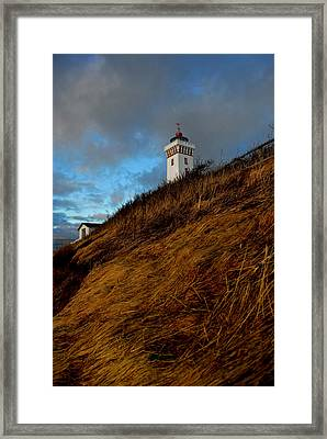 Helnaes Lighthouse Framed Print by Robert Lacy