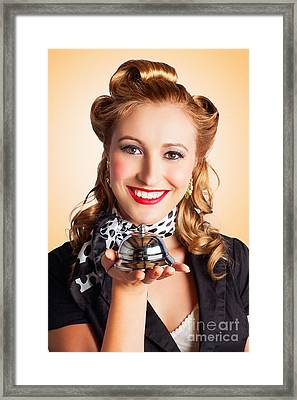 Help At Hand With Retro Woman Offering Assistance Framed Print
