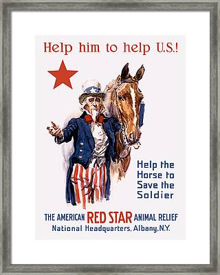 Help The Horse To Save The Soldier Framed Print by War Is Hell Store