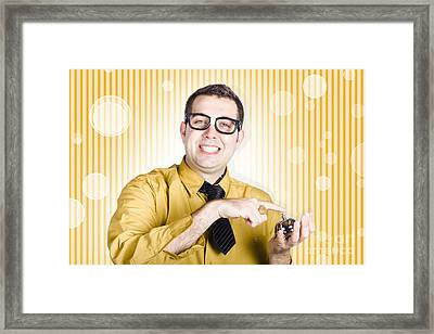 Helpful Customer Service Sales Man With Hotel Bell Framed Print